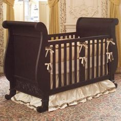 Chelsea Sleigh Crib In Espresso and Luxury Baby Cribs in Baby Furniture Nursery Fabric, Nursery Room, Convertible Crib, Baby Furniture, Stain Furniture, Antique Furniture, Baby Online, Baby Cribs, Crib Bedding