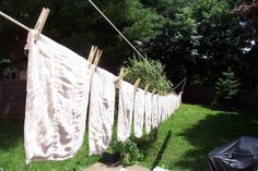 Old fashioned diapers on the line.