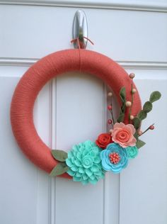 Coral Yarn Wreath, Mint, Aqua, Coral, and Peach Felt Flowers by BlueHouseDesignz on Etsy
