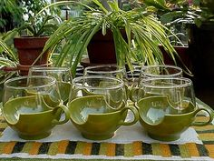 """Love these PYREX WARE Avocado Green """"DRINKUPS"""""""