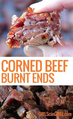 Beer-Braised Smoked Corned Beef Burnt Ends, What happens when you give an American classic like brisket a kiss of the Irish? You get these little melt-in-your-mouth nuggets of beer-braised corne. Smoked Corned Beef Brisket, Corn Beef Brisket Recipe, Corned Beef Recipes, Traeger Recipes, Smoked Meat Recipes, Grilling Recipes, Brisket Meat, Spinach Recipes, The Pioneer Woman