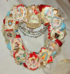 Valentine Wreath Vintage 1800s Ephemera Valentine by treasured2, 165.00