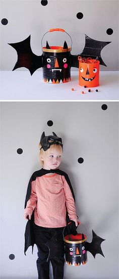 trick-or-treat buckets with tin cans and duct tape, via mer mag