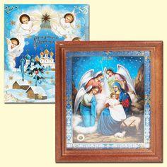 "SHOP-PARADISE.COM:  Ikone ""Roghdestwo Hristowo"", 13x15 cm, Holzumrahmung, Doppelpraegung, mit Teil der Heiligen Erde 12,99 €"