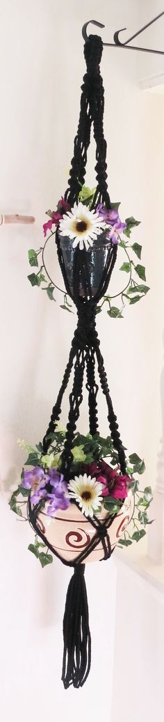 Goth decor, Gothic decor, Double Macrame Plant Hanger, 2 Tier Hanging Planter, BLACK, Pot Holder, 2 Pots Planter Holder, Gothic Decor, Large, Boho, Long