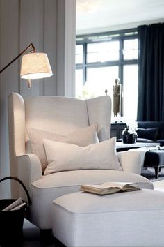 Canu0027t go wrong with a white wing chair matching ottoman and a brass floor l& to create the perfect reading nook. I like the chair shape : reading chaise - Sectionals, Sofas & Couches