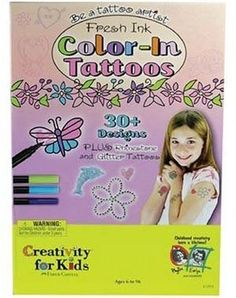 http://stansmarketing.com/fresh-ink-color-in-tattoos-for-girls/ Be a tattoo artist with Fresh Ink Color-In Tattoos! This Faber-Castell kit includes dozens of tattoo images, skin-friendly transfer sheets, application sponge, and tattoo markers for creating unique tattoo designs. These non-permanent body art is a safe way for kids to express themselves. Perfect for parties. For ages 6 and up.