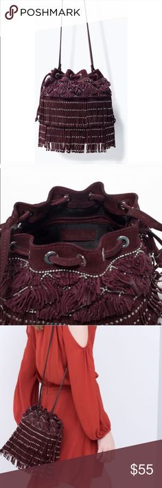 Zara suede fringe bucket bag Lightly used. With studs. No studs are missing. Perfect for fall.  Real suede. Zara Bags Crossbody Bags