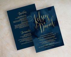 Wedding Invitations - Navy Wedding Invitation - Navy and Gold Wedding Invites - Navy Blue Wedding Invitation - Faux Foil Script - Watercolor by appleberryink on Etsy https://www.etsy.com/uk/listing/258723363/wedding-invitations-navy-wedding