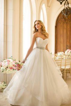 Soft, romantic, and flirty. Stella York available at Lilla's Bridal Pin from DreamWeddingsPA.com