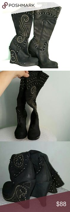 """Steve Madden Luxe 8 black suede studded wedge boot 4 3/4"""" heel, 1"""" platform. Black onyx imitation stones (3 are missing on a right boot's platform) and studs. Partial side zipper closure. Black suede upper. Black leather braided decoration. Pull tabs. Leather soles. Leather lining. Cool pair! Steve Madden Luxe Shoes Wedges"""