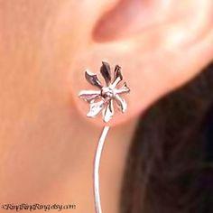 Cute flower long stem earrings