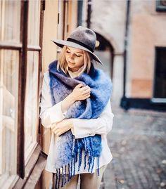 @ellagrangard / Instagram wearing Balmuir Kid mohair scarf in colour Ultramarine.