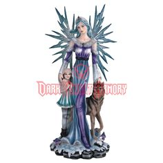 Winter Fairy with Wolf and Child Statue - 05-91522 from Dark Knight Armoury