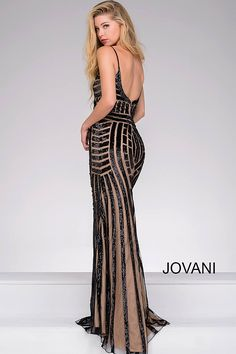 Black and Nude Beaded Backless Pageant Dress 41790
