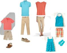 """Be sure to follow the new blog series """"Fashion Friday"""" at www.kjbradleyphoto.com. The first edition post features these coral and aqua tones for summer family portraits."""