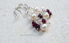 Luminous white Freshwater pearls Garnets Rose quartz gemstone