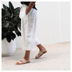 Tie Waist Culottes in White