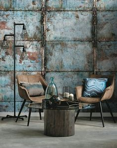 Best 35 Home Decor Ideas - Lovb Industrial Interiors, Industrial Style, Vintage Industrial Decor, Cafe Interior, Interior And Exterior, Rustic Wood Furniture, Wall Finishes, Interior Decorating, Interior Design