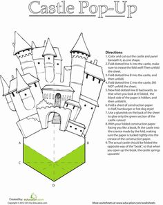 Little knights in shining armor and warrior princesses can bring imagination to life with a fun paper castle. Origami Templates, Box Templates, Tarjetas Pop Up, Pop Up Art, Paper Pop, Paper Engineering, Christmas Card Crafts, Up Book, Funny Tattoos