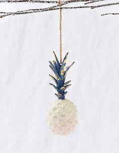 Glitterville Pineapple Ornament , White | Aerie for American Eagle