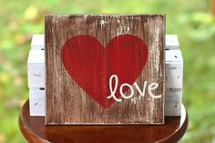 Distressed Wood Sign - 'Love.'