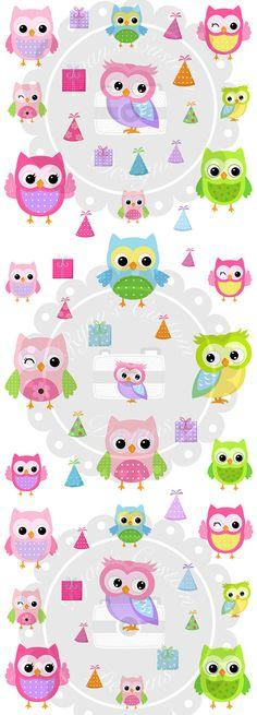 Birthday Themed Owls Planner Stickers | 54 Stickers | Erin Condren | Planner | Custom | Cute | Owl | Birthday |