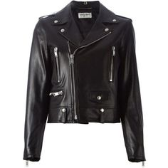 Saint Laurent classic biker jacket (112.755 UYU) ❤ liked on Polyvore featuring outerwear, jackets, leather jackets, tops, coats & jackets, black, moto jackets, collared leather jacket, genuine leather biker jacket and cropped jacket