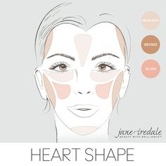 A makeup guide on how to apply highlighter, bronzer, and blush to a heart-shaped face.