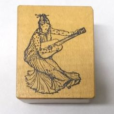 Asian lady Musician rubber stamp Rare Ant Transfer wood mounted people woman