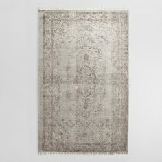 5'x8' Gray Woven Cotton Naomi Area Rug -  World Market. Very pretty, but very thin. Sea foam green and dark brown. (See review).