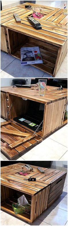 New Projects for Wood Pallet Reusing Now begin to adorn the elegance of your house with something much inspirational and trending everywhere. Yes, we are going to surprise you with the artistic… Diy Pallet Wall, Wooden Pallet Projects, Pallet Patio, Wood Pallet Furniture, Pallet Tables, Pallet Ideas, Recycled Pallets, Wooden Pallets, Coffee Table Plans