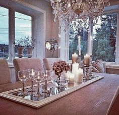 Dining room table decorations you'll want to leave up all spring along to elevate your dining room decor Table Centers, Center Table, Decoration Table, Centerpiece Ideas, Mirror Centerpiece, Dining Table Decor Centerpiece, Dinning Room Table Decor, Dining Tables, Nook Table