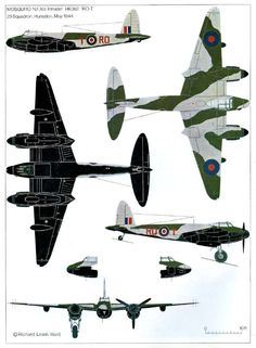 1940-50 De Havilland 'DH.98' Mosquito. RAF,RCAF,RAAF, USAAF - Light Bomber, Fighter Bomber, Night Fighter, Maritime strike aircraft, photo-reconnaissance. Engine: 2 x Rolls Royce Merlin 21/21 or 23/23 (left/right), liquid cooled V12 engine (1480 hp 21 & 23, 1103 kW). Armament: 4 x 20 mm (.79 in) Hispano Mk II cannon (fuselage) & 4 x .303 in (.79 mm) Browning machine guns in the nose. Max Speed: 366 mph (318 kn, 589 km/h) @ 21,400 ft (6500 m)