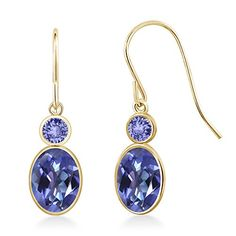 Promise Rings Simple | 214 Ct Oval Purple Blue Mystic Topaz  Blue Tanzanite 14K Yellow Gold Earrings >>> Read more reviews of the product by visiting the link on the image.(It is Amazon affiliate link) #westcoasts
