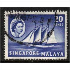 Malaya, Singapore Scott 36 - SG46, 1955 20c used stamps sur le France de eBid