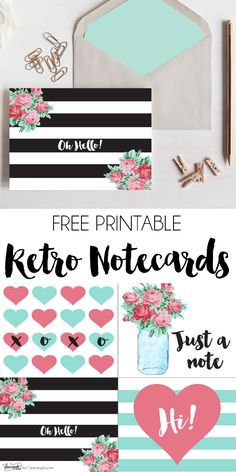 Free Printable Retro Notecards. Grab these free printable notecards in four fun designs! Dawn Nicole Designs for Capturing-Joy.com
