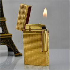 Bật lửa S.T.Dupont vàng kẻ caro nhỏ - Mã SP: BLD 028