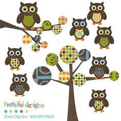 Owl Clip Art for Digital Scrapbooking, Invitations, Paper Goods, Card Making - Monkey Kisses Variation