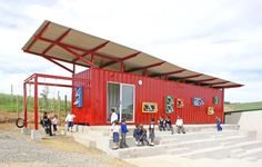 School in rural South Africa built from a used shipping container. (Definitely not an ordinary one-room red schoolhouse!) Pretty fun-looking, isn't it?