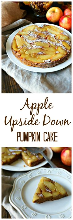 Apple Upside Down Pumpkin Cake: Can't decide between pumpkin or apple for your next dessert? Have them both! Caramel Apples top a moist pumpkin cake--creating a perfect marriage of flavors.