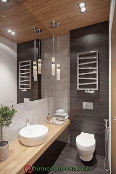 Ideas para decorar tu aseo baño Ideas to decorate your bathroom toilet Washroom Design, Bathroom Design Luxury, Modern Bathroom Design, Bathroom Design Inspiration, Bad Inspiration, Small Toilet Design, Ideas Baños, Ideas Para, Powder Room Decor