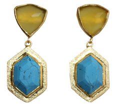 Metal, gold polish, stone earrings