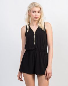 This black Zipped Up Romper will be your favorite everyday piece! Pair this romper with some ankle booties and accessorize with a leather backpack for a chic, sporty vibe.