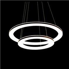 LightInTheBox Acrylic Pendant LED Ring light, Modern Chic Stainless Steel Plating Home Ceiling Light Fixture Flush Mount, Pendant Light Chandeliers Lighting (White) For Sale