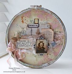 Altered embroidery hoop. Tim Holtz Home Decor created by Emma Williams for the Simon Says Stamp Blog