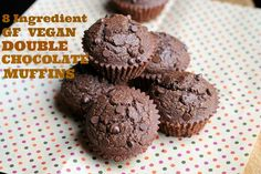 8 Ingredient Gluten-free Vegan Double Chocolate Muffins that are also oil-free! SO good and easy to make. These are so moist and rich, nobody would know they were on the healthy side. | http://TheVegan8.com | #vegan #glutenfree #chocolate #muffins #oilfree