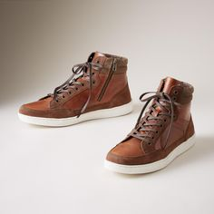 These casual, everyday 'Mountain Pass' high-top sneakers are updated and back again; leather, suede and canvas work together for extra dimension. Whole and half sizes 8 to These are running a size large. Mountain Pass, Thing 1, Working Together, Memory Foam, High Tops, High Top Sneakers, Zip, Running, Casual