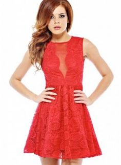 red lace dress #skaterdress