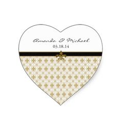 Heart Shaped Black and Gold Fleur de Lis Personalized wedding or save the date stickers